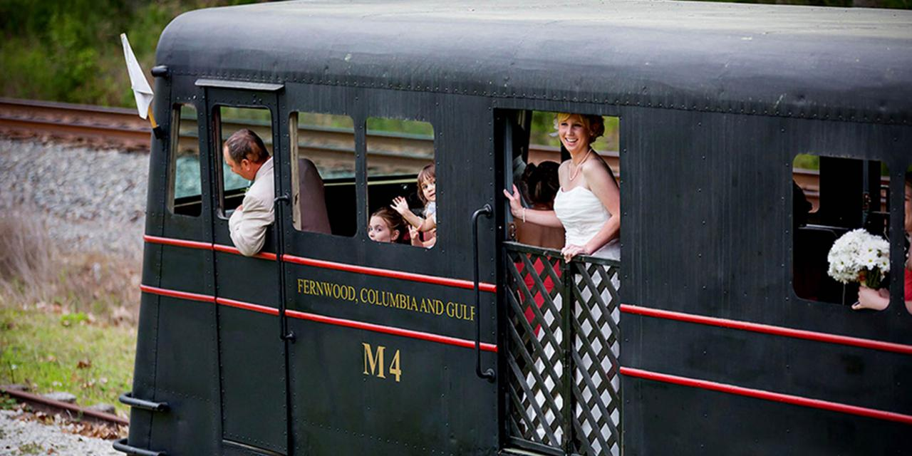 Arrive at your wedding by train at the Southern Forest Heritage Museum